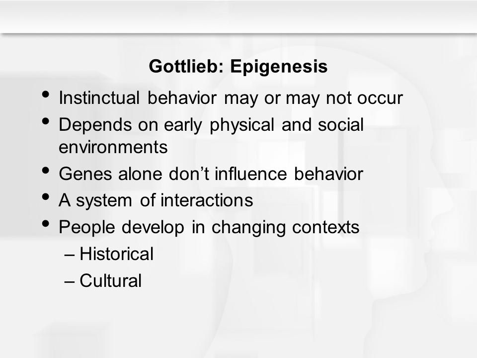 Gottlieb: Epigenesis Instinctual behavior may or may not occur. Depends on early physical and social environments.