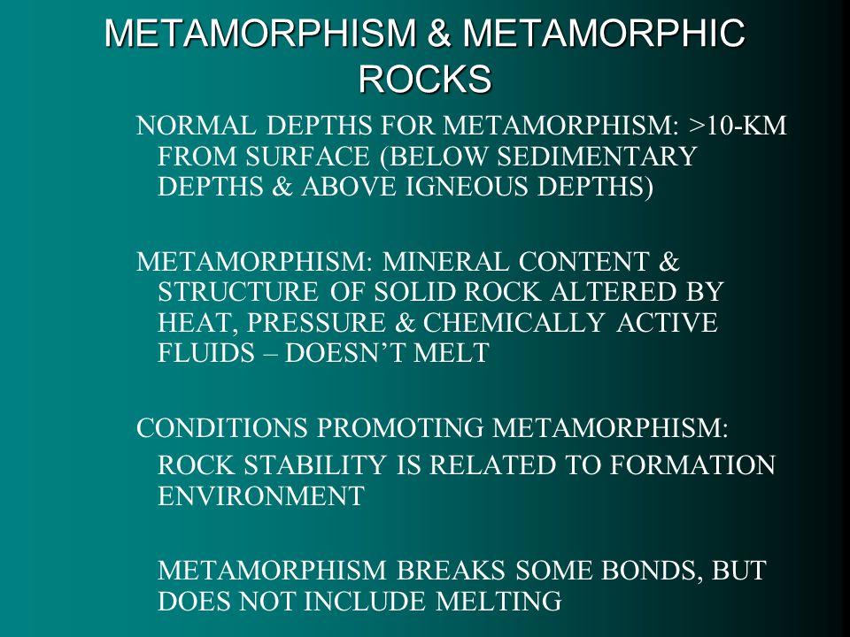 METAMORPHISM & METAMORPHIC ROCKS