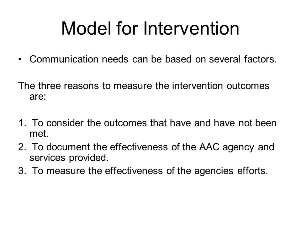 Model for Intervention