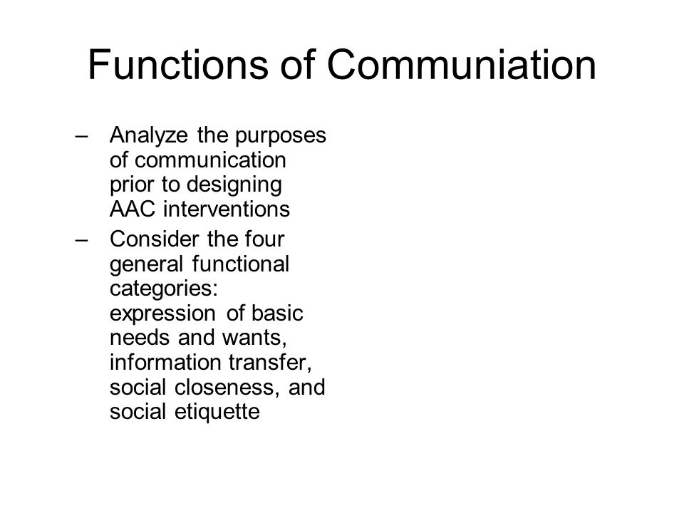 Functions of Communiation