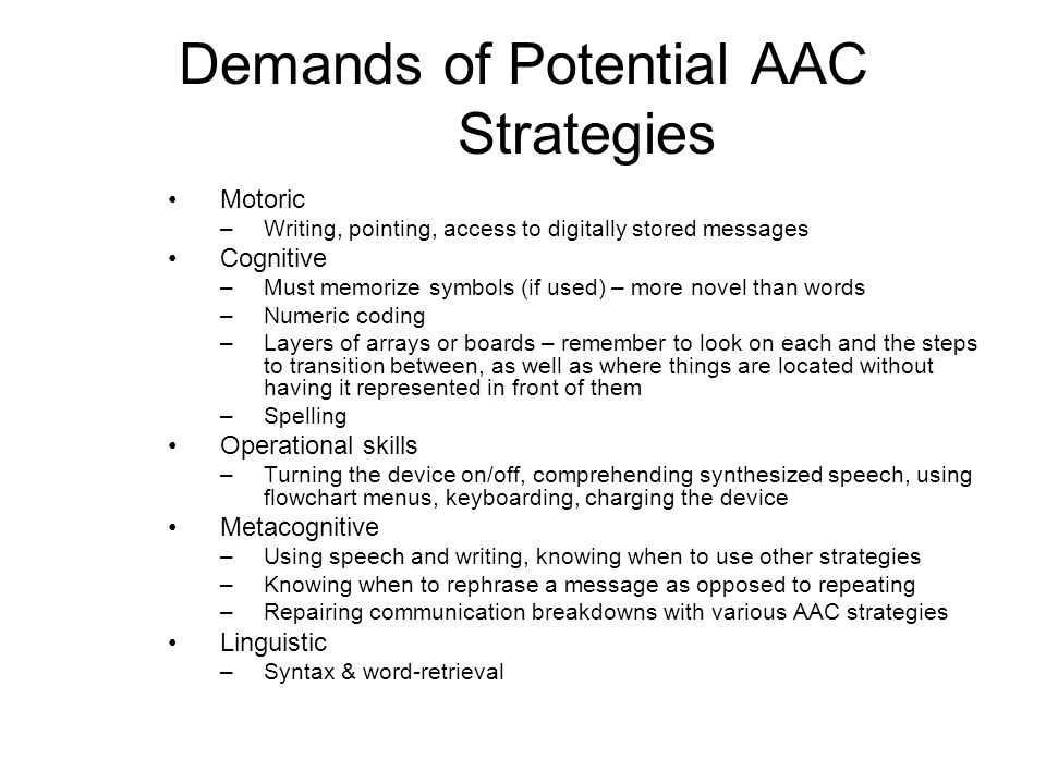 Demands of Potential AAC Strategies