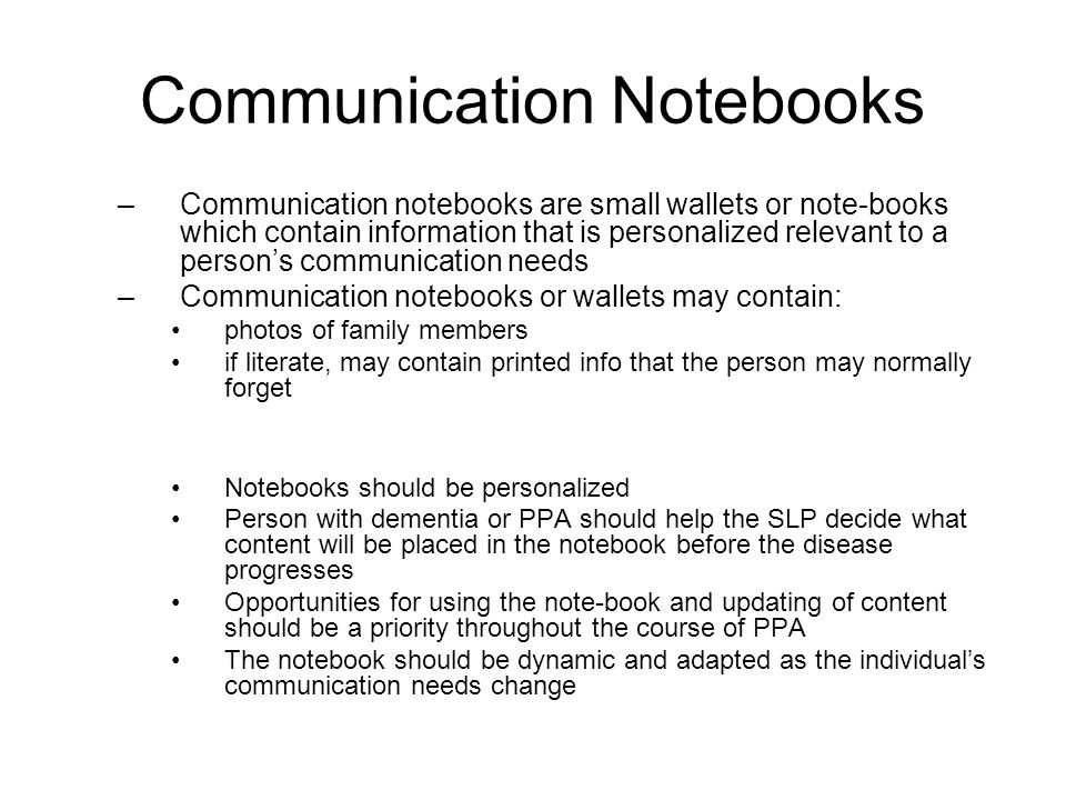 Communication Notebooks