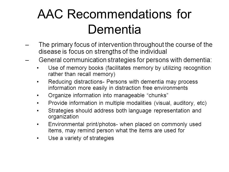 AAC Recommendations for Dementia