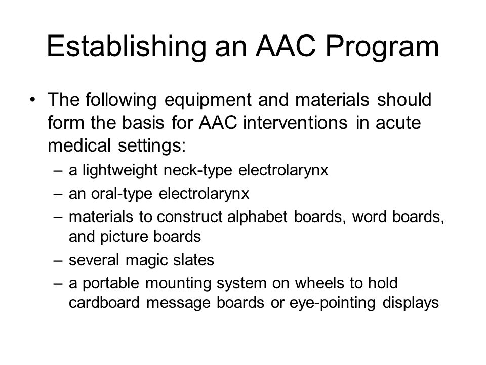 Establishing an AAC Program