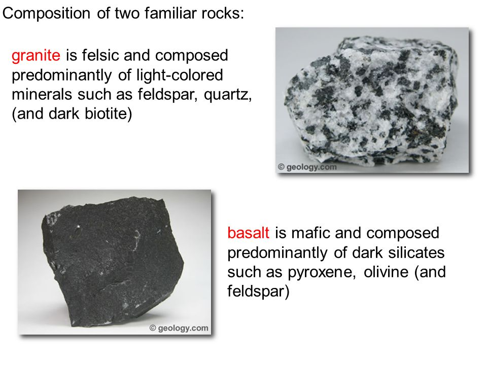 Composition of two familiar rocks:
