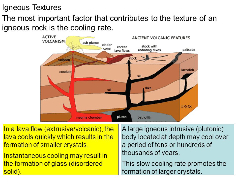 Igneous Textures The most important factor that contributes to the texture of an igneous rock is the cooling rate.