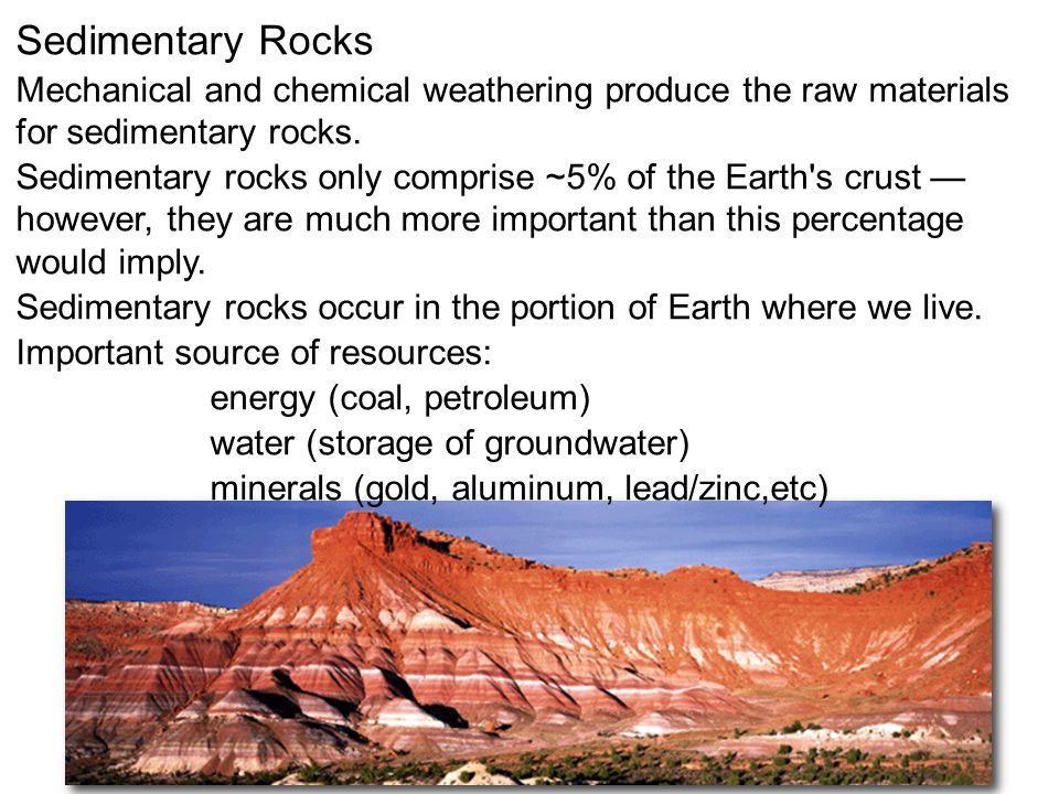 Sedimentary Rocks Mechanical and chemical weathering produce the raw materials for sedimentary rocks.