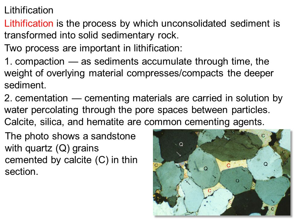Lithification Lithification is the process by which unconsolidated sediment is transformed into solid sedimentary rock.