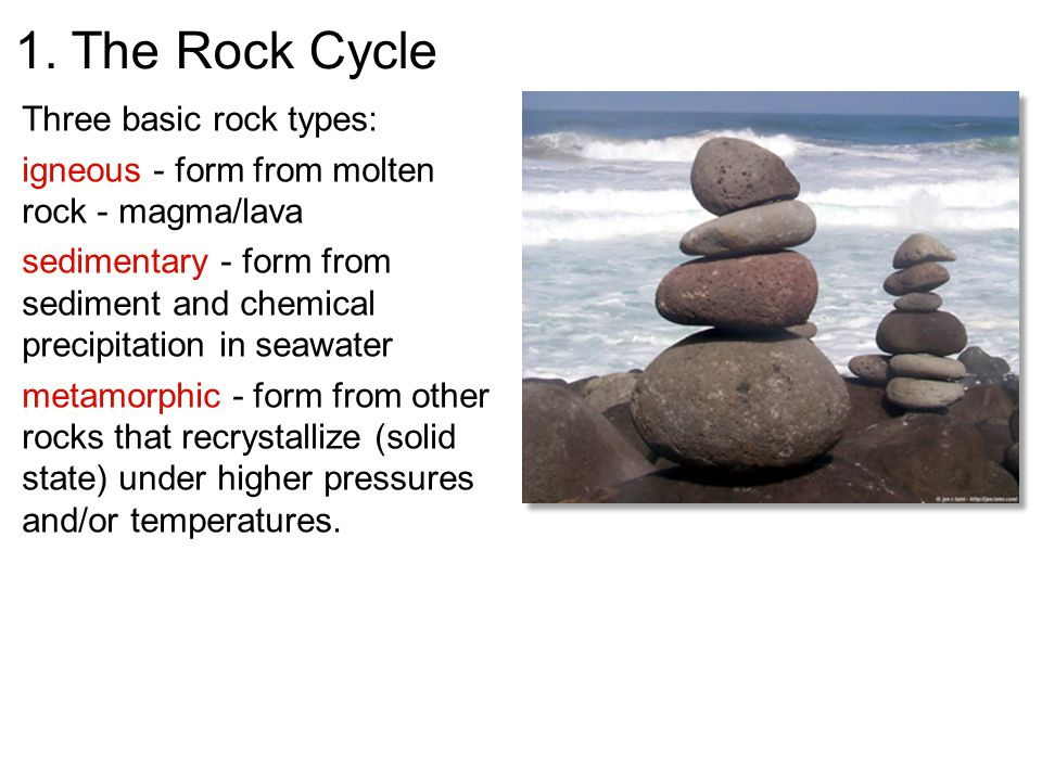 1. The Rock Cycle Three basic rock types: