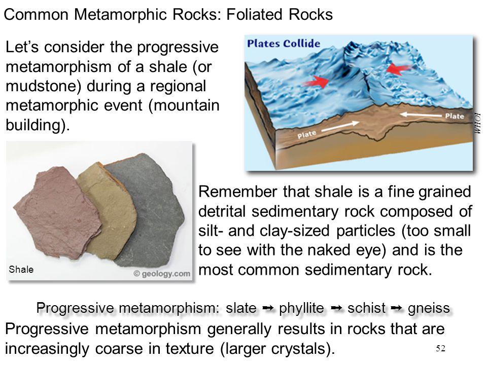 Progressive metamorphism: slate ➞ phyllite ➞ schist ➞ gneiss
