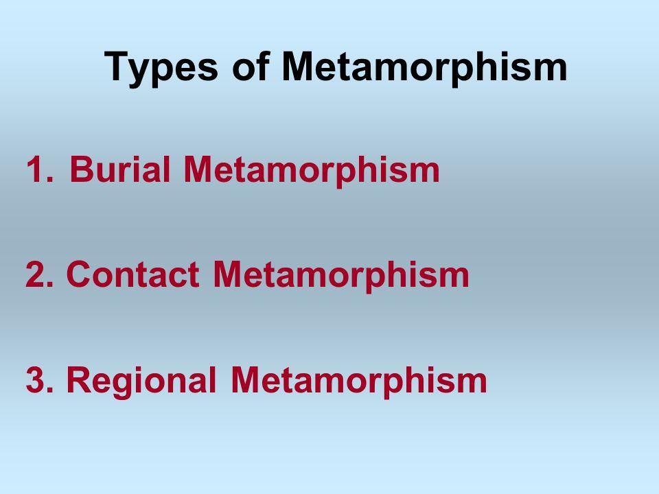 Types of Metamorphism Burial Metamorphism 2. Contact Metamorphism
