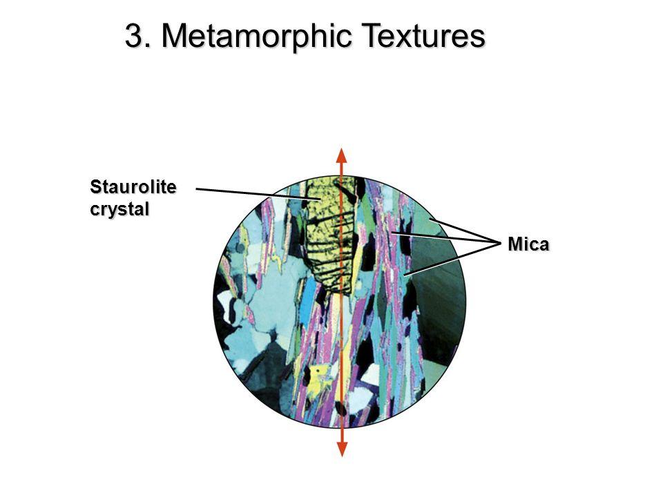 3. Metamorphic Textures Staurolite crystal Mica