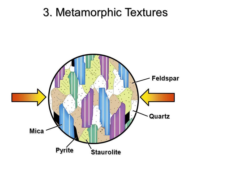 3. Metamorphic Textures Feldspar Quartz Mica Pyrite Staurolite