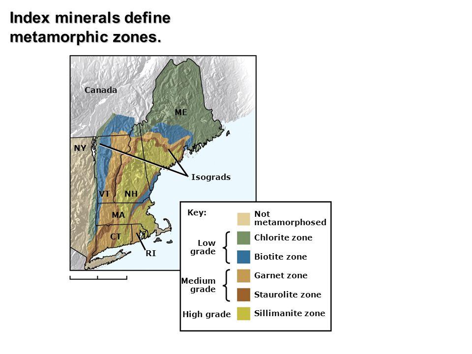 Index minerals define metamorphic zones. Canada ME NY Isograds VT NH