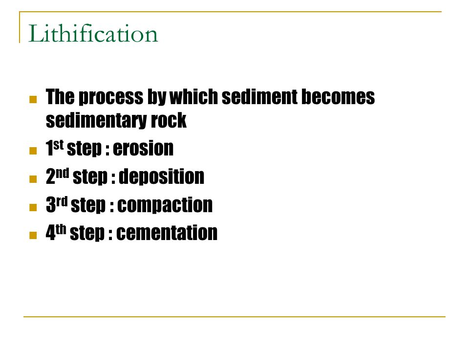 Lithification The process by which sediment becomes sedimentary rock