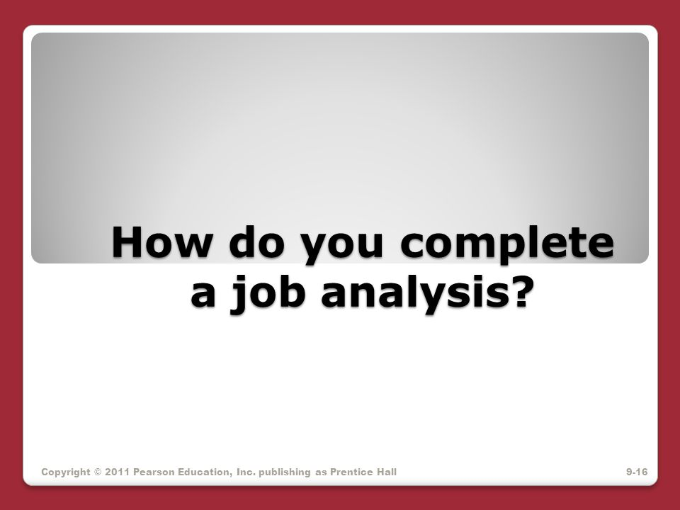 How do you complete a job analysis