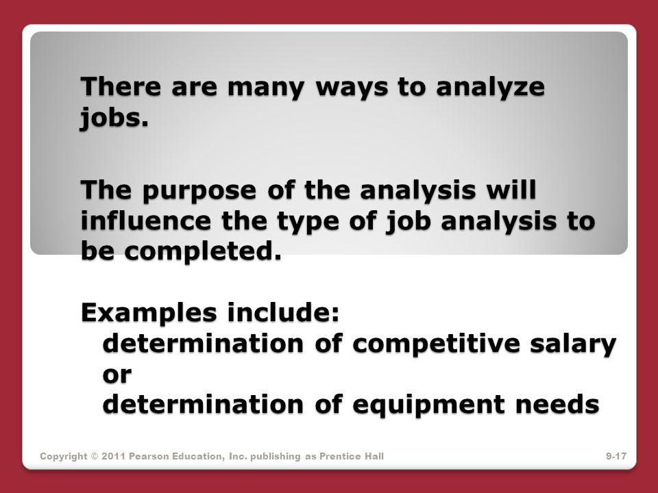 There are many ways to analyze jobs