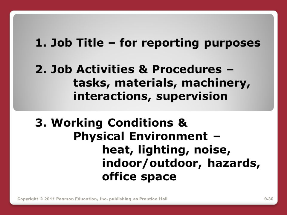 1. Job Title – for reporting purposes 2. Job Activities & Procedures –