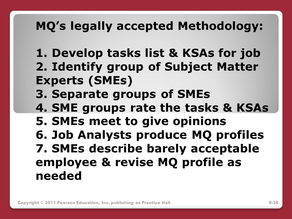 MQ's legally accepted Methodology: 1