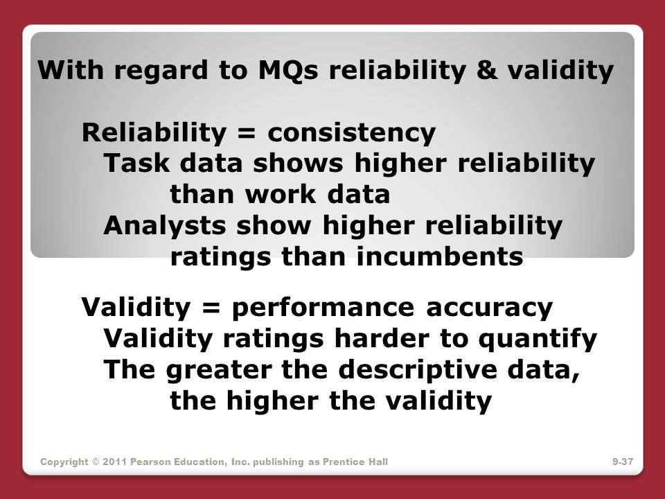 With regard to MQs reliability & validity. Reliability = consistency