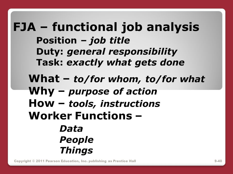 FJA – functional job analysis. Position – job title