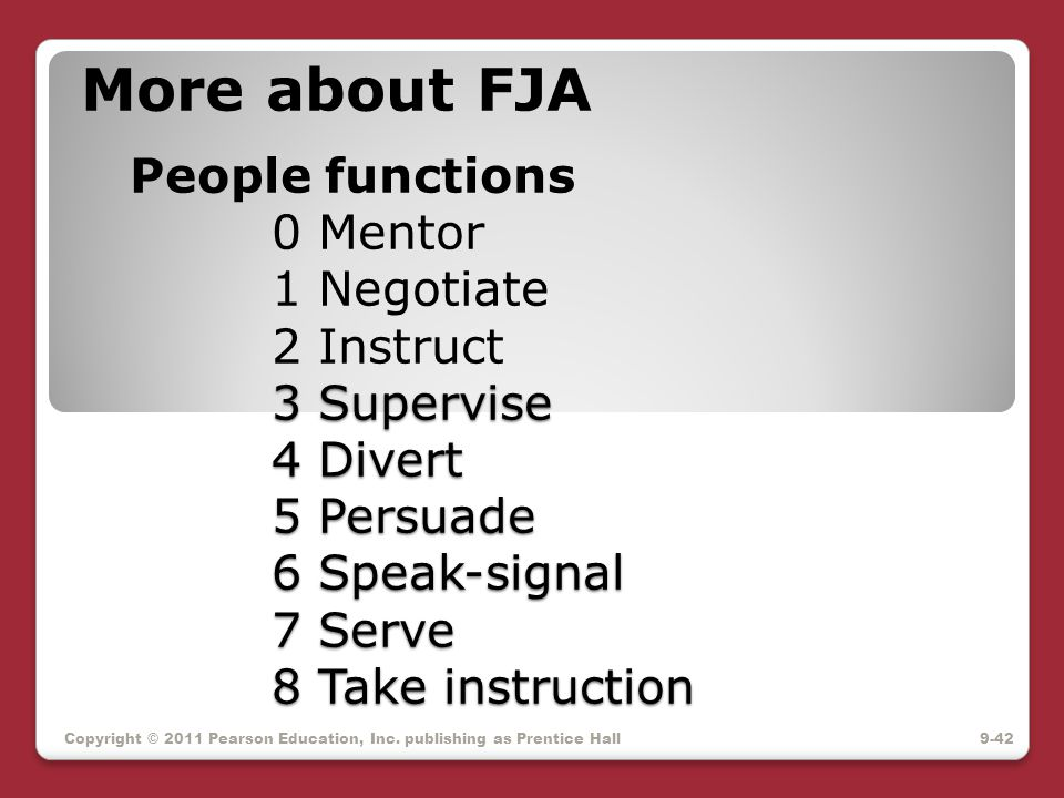 More about FJA People functions. 0 Mentor. 1 Negotiate. 2 Instruct