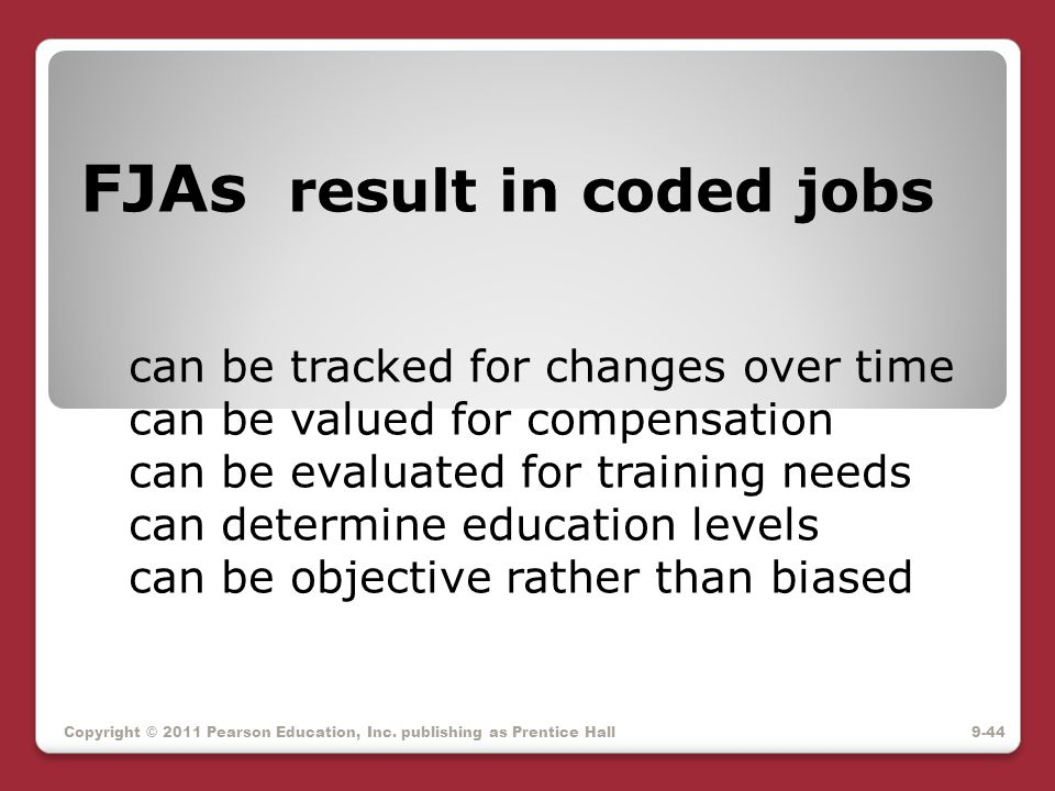 FJAs result in coded jobs