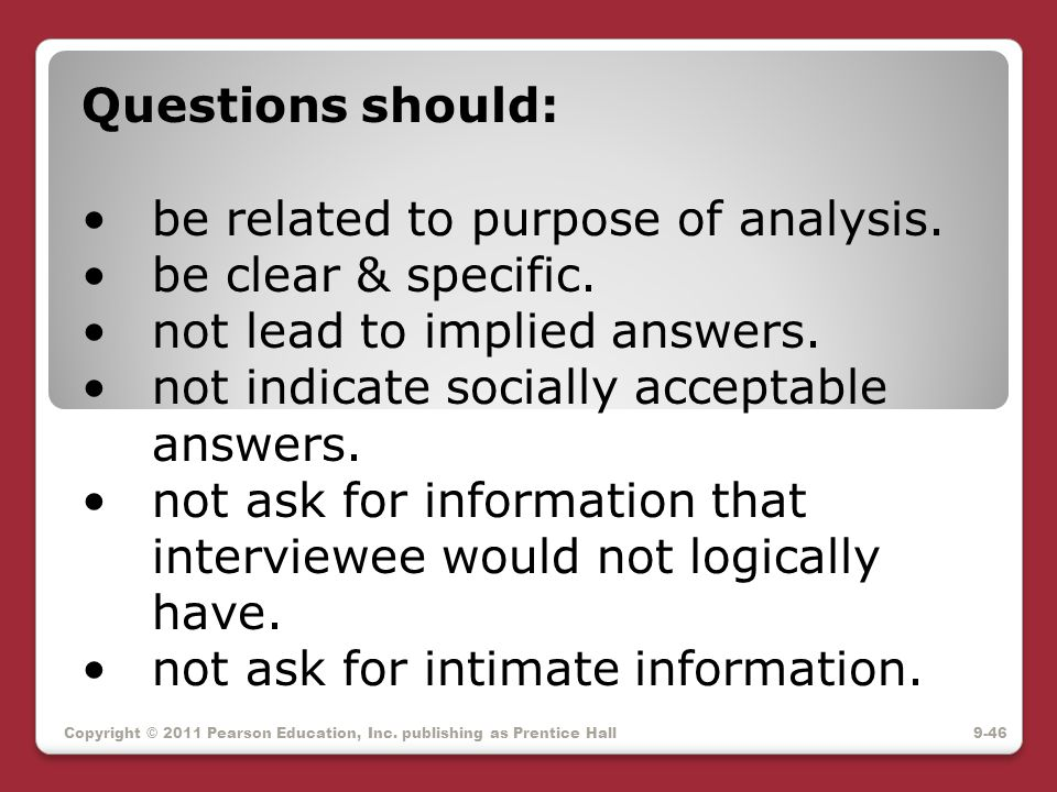 be related to purpose of analysis. be clear & specific.