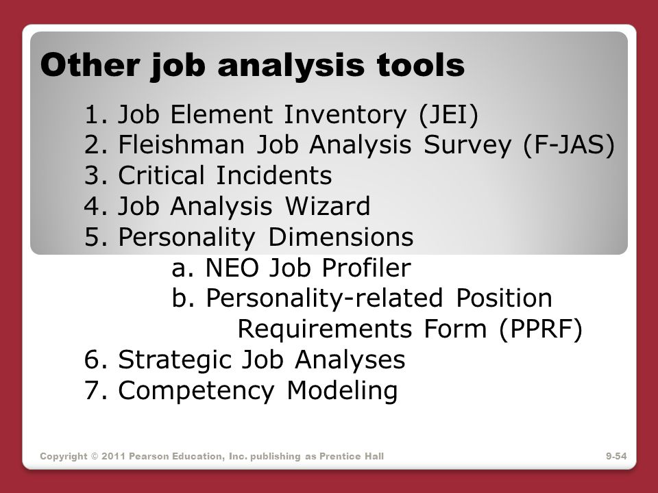 Other job analysis tools