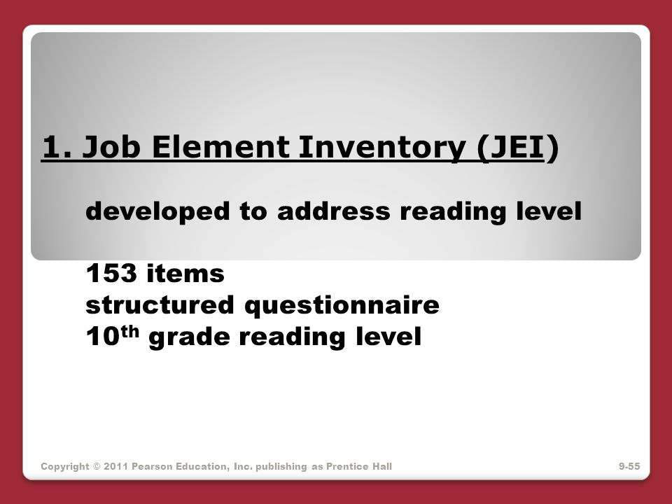 1. Job Element Inventory (JEI)