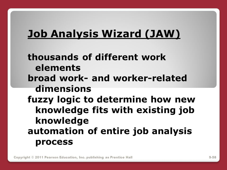Job Analysis Wizard (JAW) thousands of different work