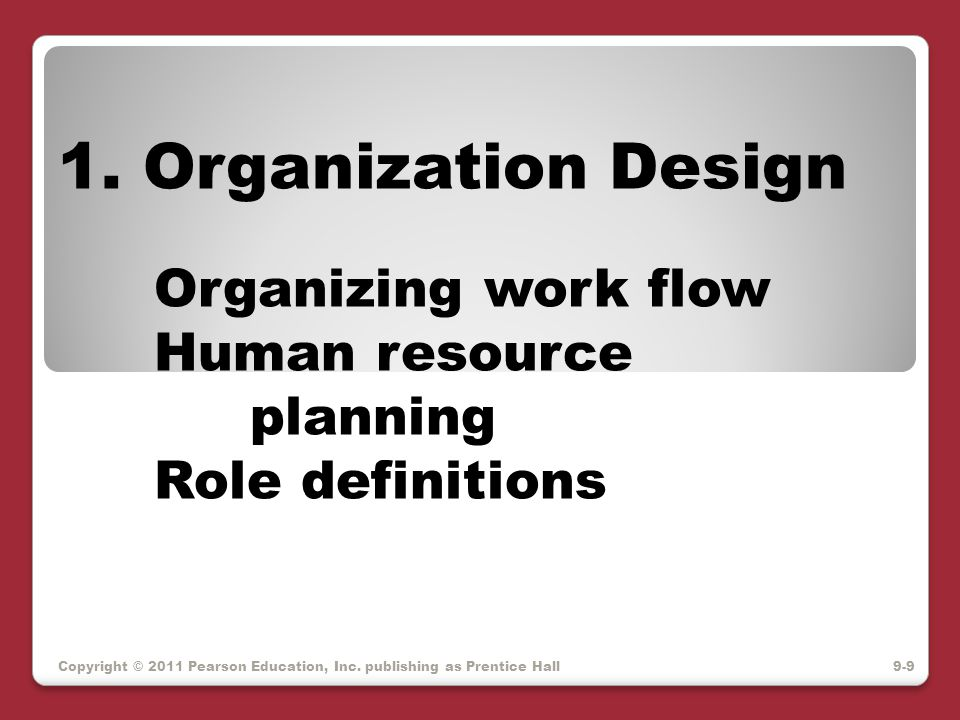 1. Organization Design Organizing work flow Human resource planning