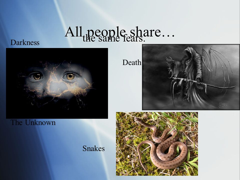 All people share… the same fears. Darkness Death The Unknown Snakes