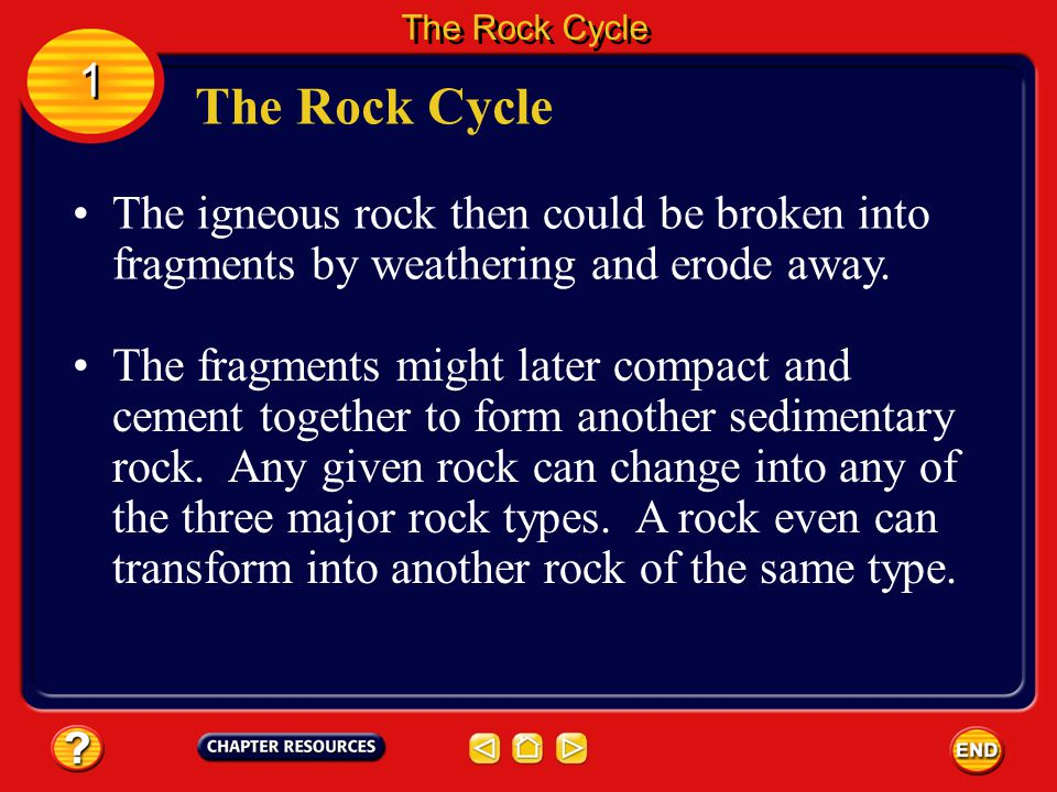 The Rock Cycle 1. The Rock Cycle. The igneous rock then could be broken into fragments by weathering and erode away.