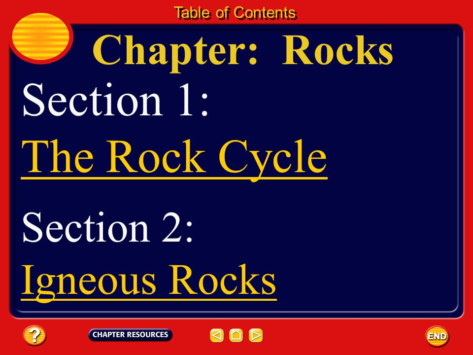 Section 1: The Rock Cycle Chapter: Rocks Section 2: Igneous Rocks