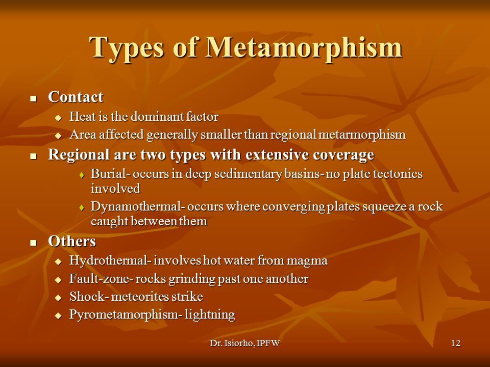 Types of Metamorphism Contact