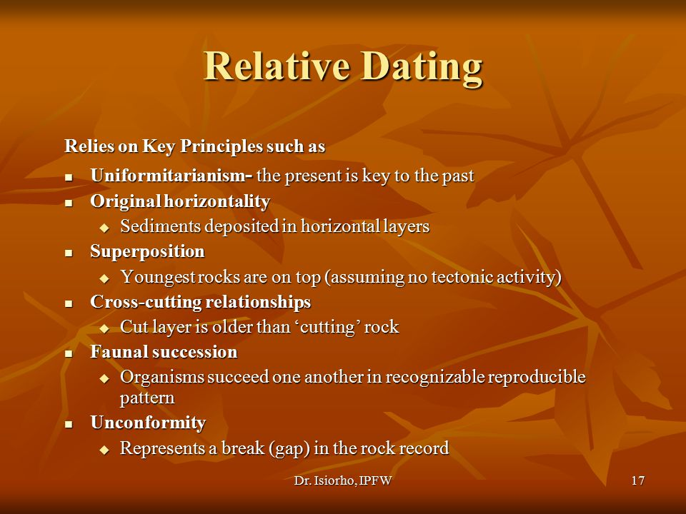 Relative Dating Relies on Key Principles such as