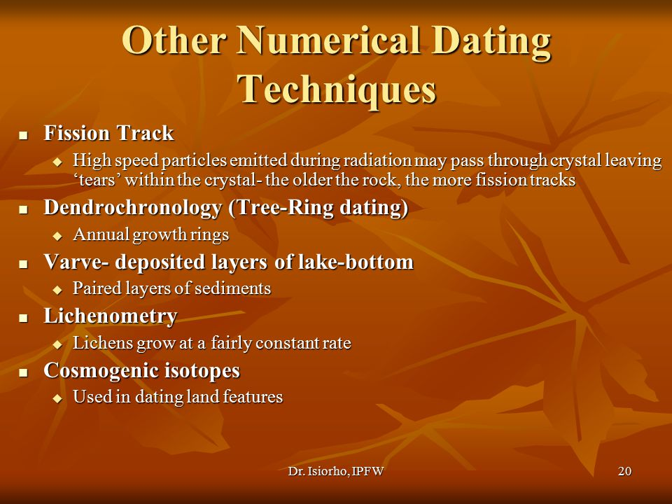 Other Numerical Dating Techniques