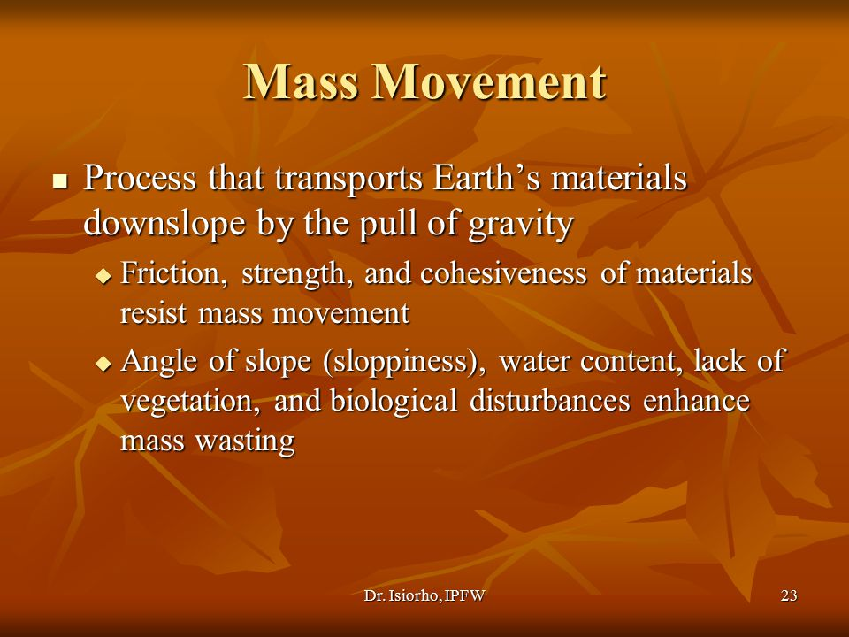 Mass Movement Process that transports Earth's materials downslope by the pull of gravity.