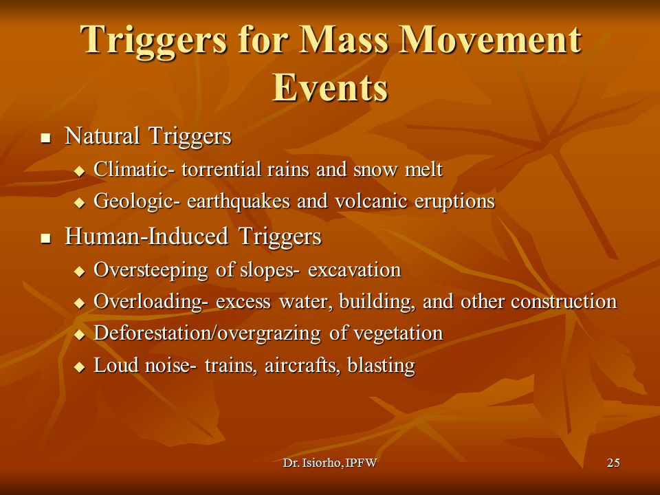 Triggers for Mass Movement Events