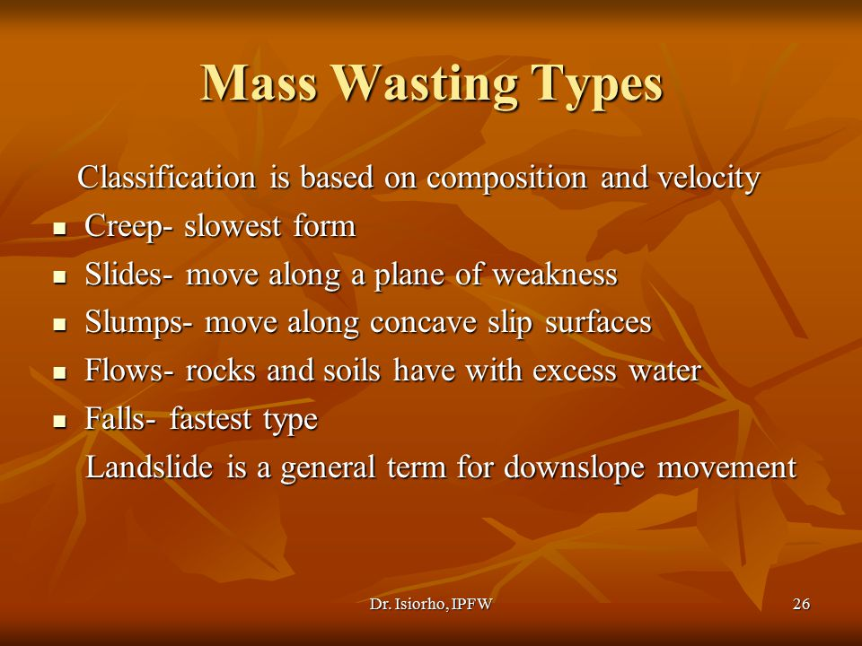 Mass Wasting Types Classification is based on composition and velocity
