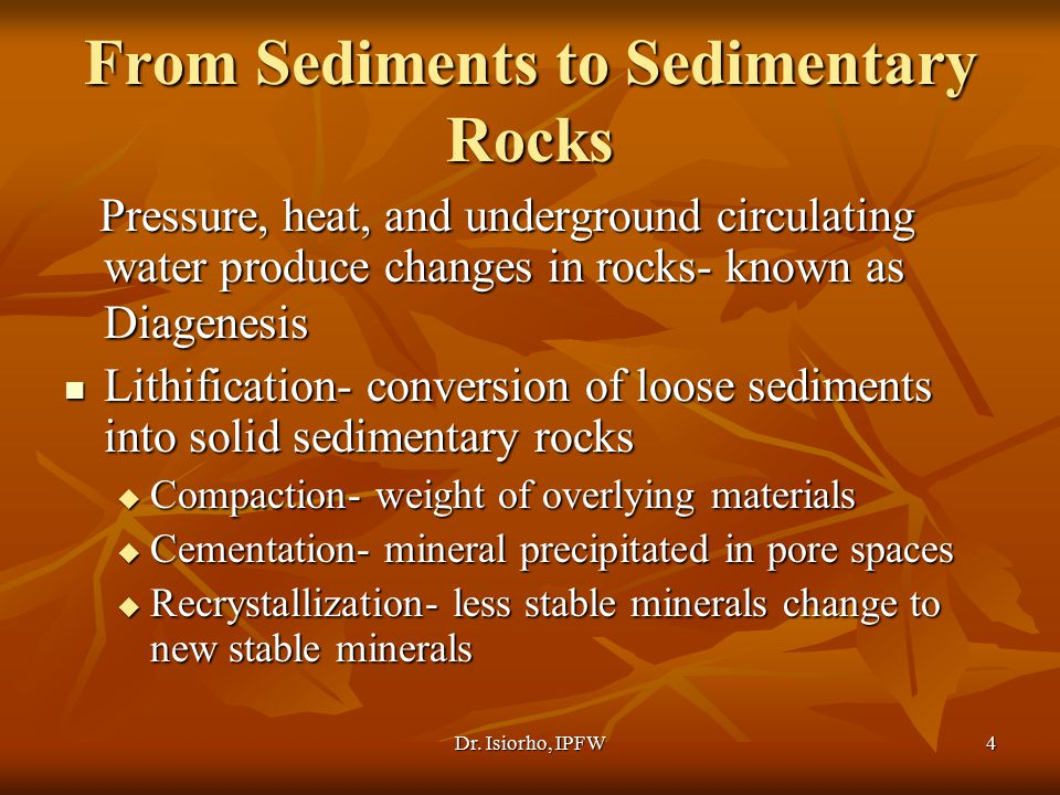 From Sediments to Sedimentary Rocks
