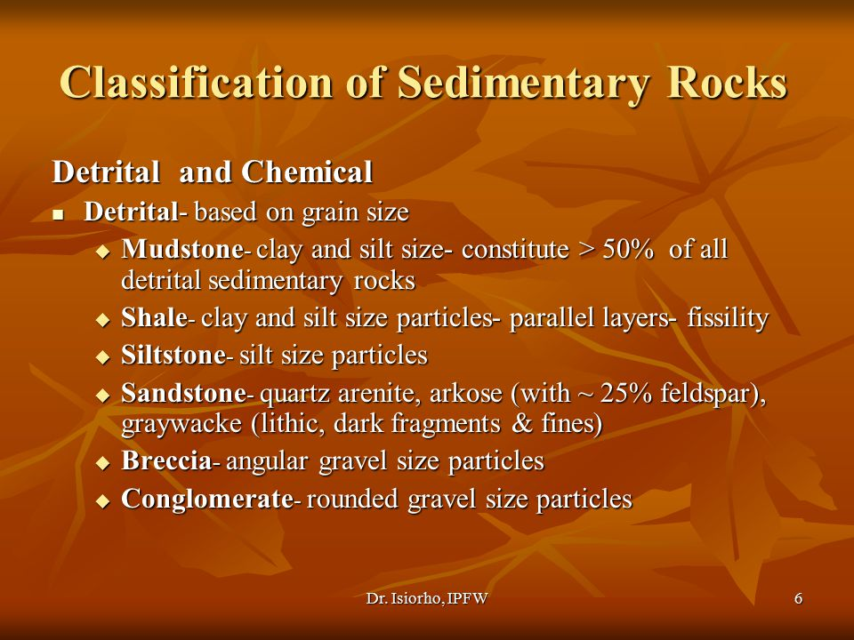Classification of Sedimentary Rocks