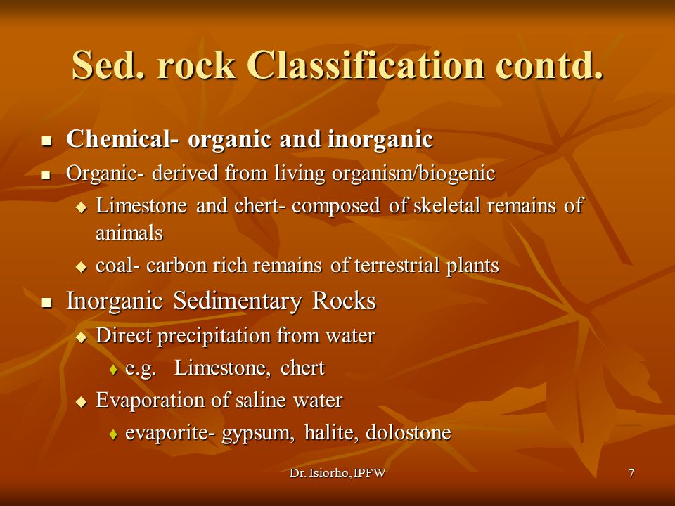 Sed. rock Classification contd.