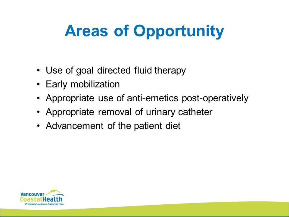 Areas of Opportunity Use of goal directed fluid therapy