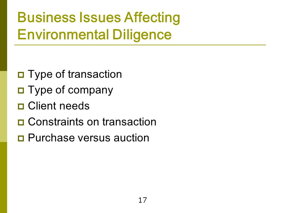 Environmental Due Diligence Initial Steps