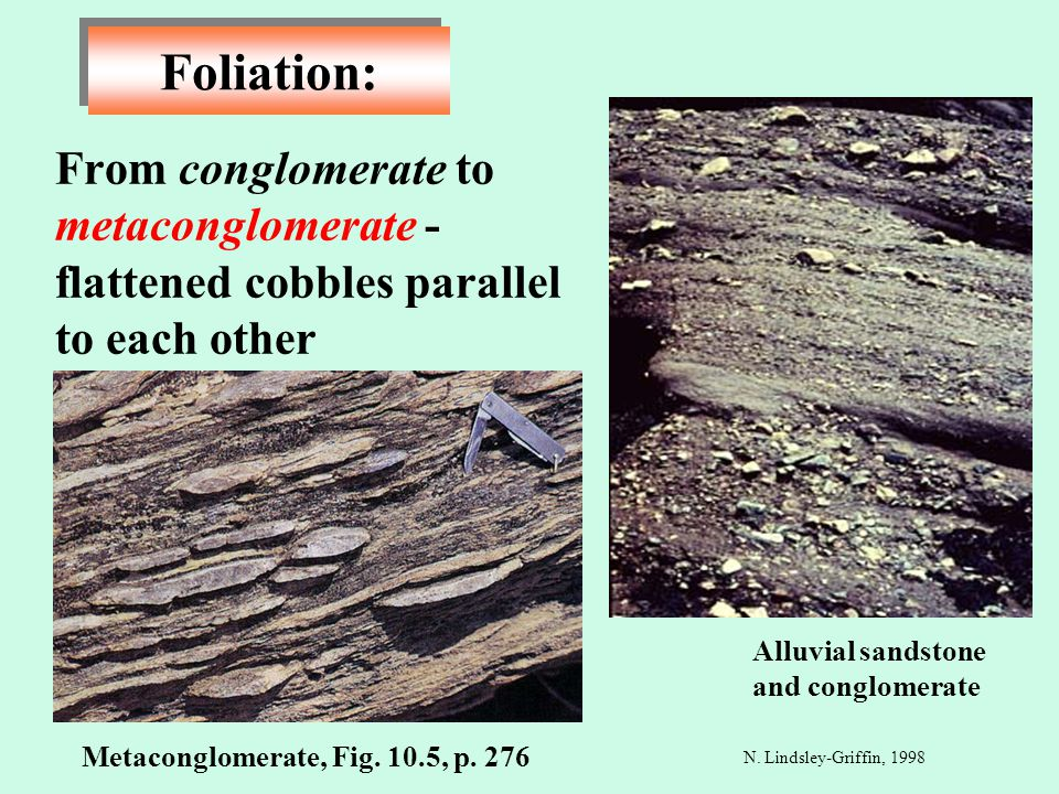 Foliation: From conglomerate to metaconglomerate - flattened cobbles parallel to each other. Alluvial sandstone and conglomerate.