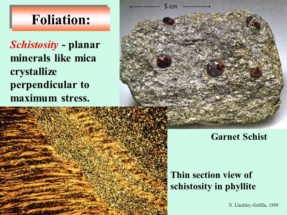 Foliation: Schistosity - planar minerals like mica crystallize perpendicular to maximum stress. Garnet Schist.