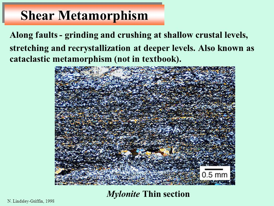 Shear Metamorphism Along faults - grinding and crushing at shallow crustal levels,