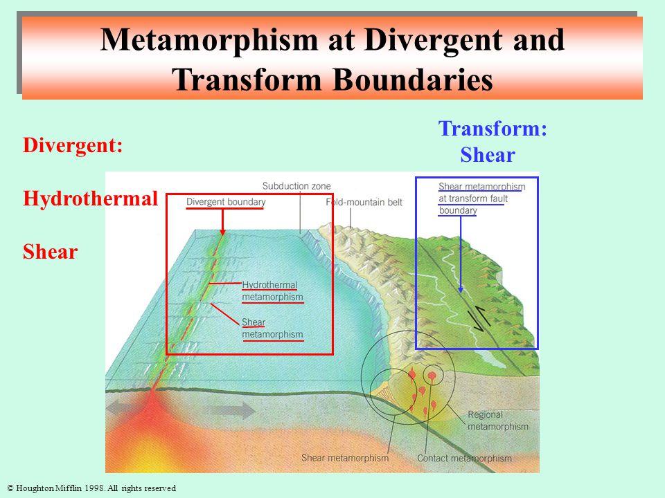Metamorphism at Divergent and Transform Boundaries